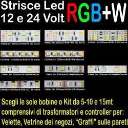 STRISCE LED RGB+W 12V - 24V...